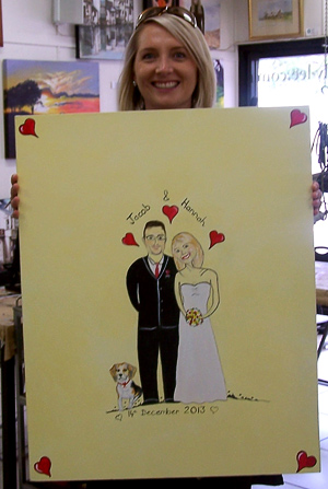 Custom-made wedding signing canvas, Brisbane